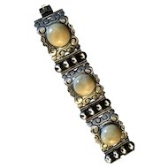 1930's Mexican silver bracelet with large olive jade!