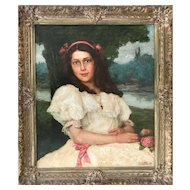 Antique European Expressionism oil painting young lady