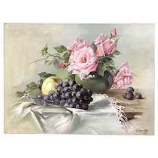 Antique Still Life oil Painting roses & fruit created 1909