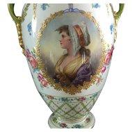 Antique hand painted Porcelain vase with portrait of women.