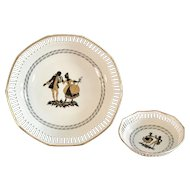 Vintage Schwarzenhammer Bavaria Porcelain center piece side dish bowl. Black & gold figures.