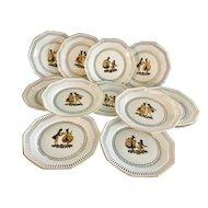 Vintage Schwarzenhammer Bavaria Porcelain 12 plates dishes. black & gold figures.