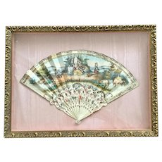 Antique hand fan from 19th century. Framed under glass. French or Italian.