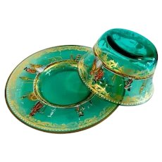 Antique Italian glass set bowl and plate hand painted enamel.
