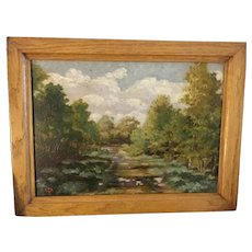 Antique Russian Oil Painting landscape created 1920-1930.