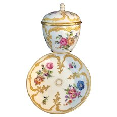Antique KPM hand painted porcelain bowl with lid & dish.
