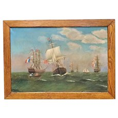 Antique American Oil Painting, sea battle. ships sailing.