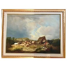 Antique Oil Painting, Shepherds field. Farm animals. Selling as is.