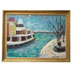 Vintage  Oil Painting Created in 1950's Winter on the water.