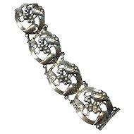 Vintage sterling silver bracelet, grape vine decoration.