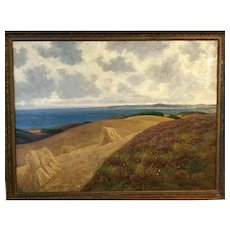 Antique Oil Painting Land by the sea created 1900-1920. Signed.