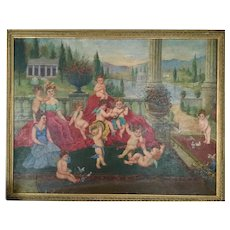 Antique Very Large oil painting, angels cherubs. 19th century. Rare.