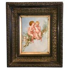 Antique hand painted porcelain plaque angels cherubs. 19th century.