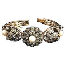 Antique French 15k gold mine cut diamonds pearls bracelet. 19th century, marked.