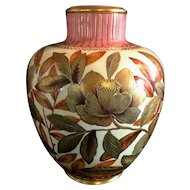 Antique Royal Crown Derby Vase made in 1904. Pink & gold with flowers.