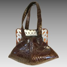 Art Deco Crocodile bag purse from 1910-1920's. Lucite & silver decoration.