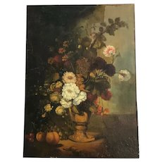 Antique 18th or 19th century old painting still life. Flowers and fruits.