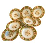Antique se of 9 hand painted Austrian soup plates , gold and enamel.