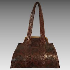 Art Deco Snake Skin purse bag with bakelite decoration. By Weilly New York.