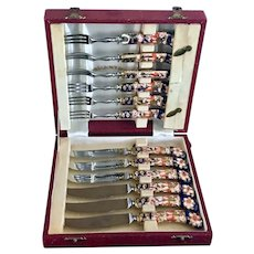 Antique Royal Crown Derby Set of 12 knives forks hand painted porcelain in box