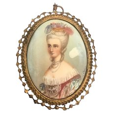 Antique 18th Century Hand painted portrait of young lady women. Signed.