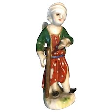 18th century German Antique hand painted porcelain miniature figurine wounded angel made in 1763 .
