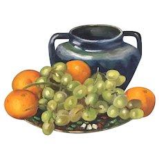 Vintage oil painting still life, grapes oranges vase. 1950's, framed. Signed.