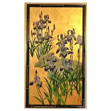 Vintage oil painting still life flowers irises, by Jean Franz Miller.
