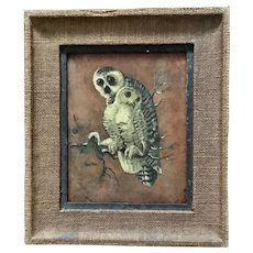 Antique oil painting of two owls, 1900-1930.