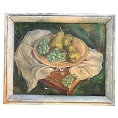 Antique oil painting still life, fruits, pears grapes. Selling as is.