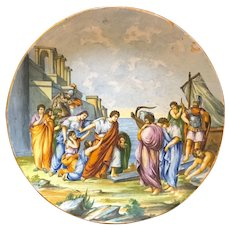 18th Century Italian hand painted porcelain charger plate, wall hanging.