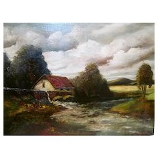 Antique 19th century oil painting of old mill. Signed. H.Costello. Selling as is.