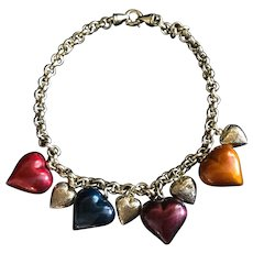 Vintage Italian gilded silver necklace with large enamel hearts! Beautiful.