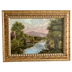 Antique Hudson style, sunset on the lake, 1930-1850. Selling as is.