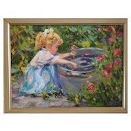 Guennadii Bernadsky Russian School, oil painting. Girl & Garden