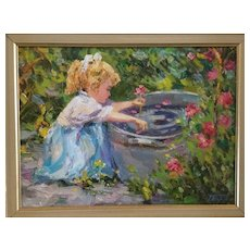 Guennadii Bernadsky Russian School, oil painting. Girl & Garden