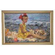 Guennadii Bernadsky Russian School, oil painting. Girl on Beach.