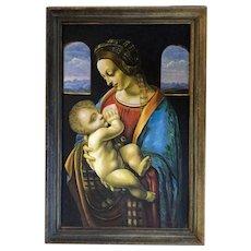 Antique Oil Painting Madonna Litta created in 19th century. A De Lorenzo.
