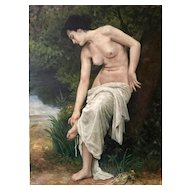 Antique Oil Painting Nude , 1900-1920's.