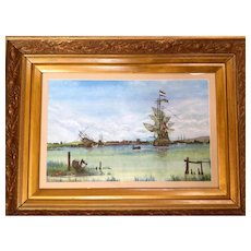 European Antique Water Color, Ships in Harbor. 19th century. W.L.W.