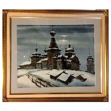 Vintage Russian Water Color by Igor Manukhov 1988. Framed.