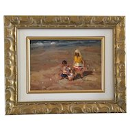 WESSEL MARAIS Original oil painting, children on the beach. Framed & signed. South African.
