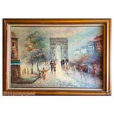 Vintage Oil Painting Streets of Paris. Framed & Signed.