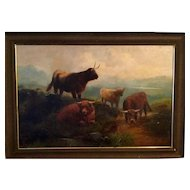 Antique Oil Created By John Shirley Fox 1897. Mountains with Cattle Cows.
