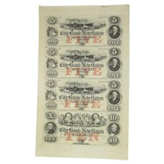 City Bank of New Haven, Connecticut Uncut Sheet of Four Obsolete Banknotes