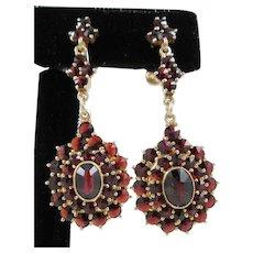 Pair of Edwardian Bohemian Garnet Earrings