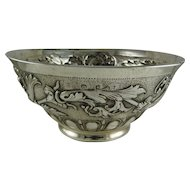 1695 Samuel Hood  London Sterling Silver Repousse Bowl