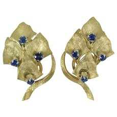 18K Yellow Gold and Natural Blue Sapphire Earrings in a Leaf and Branch Motif