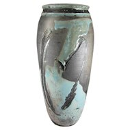 Vintage Robert William Schellin Hand Thrown Pottery Vase, Mid Century Modern, Abstract Design, 12-1/2 inches Tall