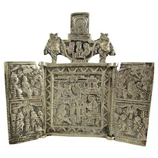 Sterling Silver Christian Travel Icon Triptych